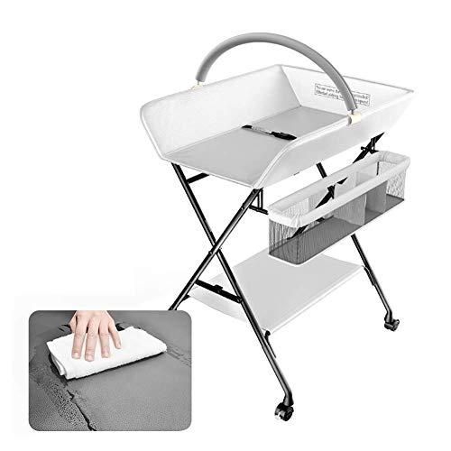 ACZZ Wicke faltbarer PU-Leder-Pad mit Spielzeug Rack & Räder, Windel-Station Dresser, leicht zu reinigen,Weiß