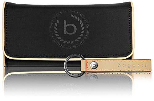 Bugatti Lido Geldbörse Damen Groß RFID - Frauen Geldbeutel Lang - Damengeldbörse Langbörse Portemonnaie im Querformat, Schwarz