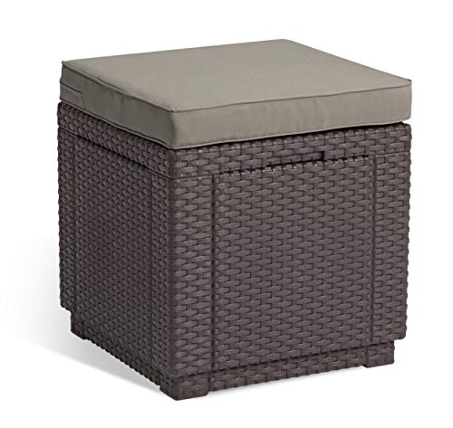 Allibert by Keter Outdoor Garden Storage Seat Stool with Cushion - Brown with Taupe Cushion