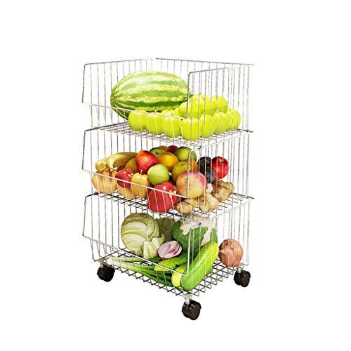 Groente- en fruitstandaard, 2 lagen, 3 lagen, 4 lagen, kunststof mand, keukenrek, groenteopslag rek, bodemopbergmand