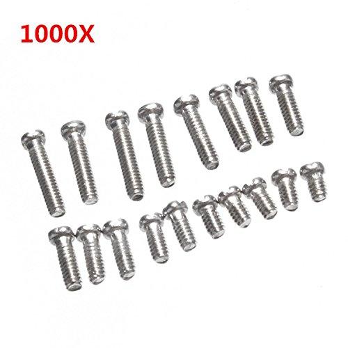 Hitommy 1000 Stück Bodenabdeckung Schraube Stahl Reparatur Kit für Uhr Uhr mit Gehäuse 10 Größen