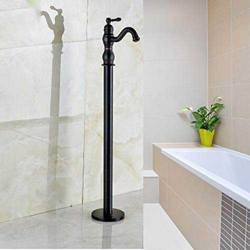 HSDMHH Duscharmatur Freistehende Öl eingerieben Bronze Mischbatterie Einhand Badewanne Wasserhahn, schwarz