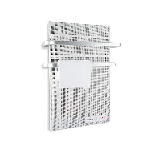 Klarstein Hot Spot Wave Panel infrarrojo - Calefactor infrarrojo , Radiador de pared , 51 x 80 cm , 20 m² , 1000 W , Termostato , Portatoallas , Protección antisalpicadura , Aluminio , Plateado