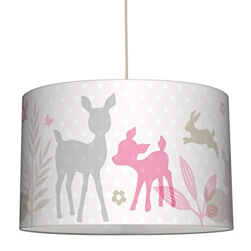 lovely label Hängelampe HÄSCHEN & REHE ROSA/GRAU/BEIGE – Lampenschirm für Kinder/Baby, Schirm mit Rehkitz, Hasen und Sternen – Komplette Hängeleuchte für Kinderzimmer Mädchen & Junge