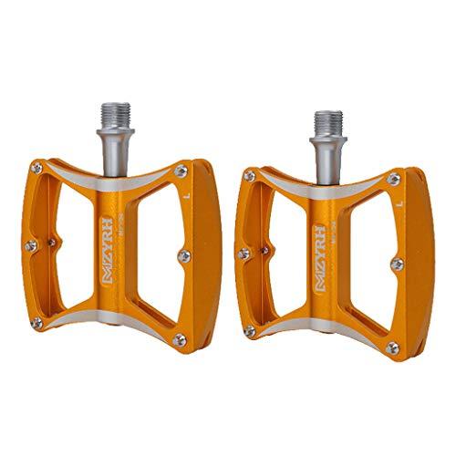 Sharplace MTB Aleación de Aluminio Ciclismo Bicicleta de Carretera Pedales de Rodamiento Plataforma Plana 9/16'2 Uds. - Dorado, 85 x 97 x 20 mm