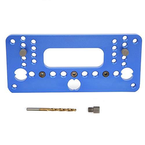Guía de perforación Localizador de plantillas de perforación Guía de perforación duradera Localizador de perforadoras Tirador de cajones Plantilla de carpintería Operaciones de(08610A blue)