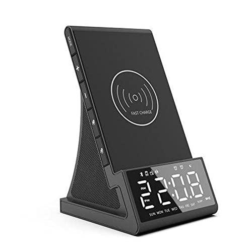 Reloj Despertador Digital Alarma Inteligente Simple LCD Pantalla Reloj con Carga Inalámbrica y Cargador USB Radio Despertador Digital Bluetooth para Sobremesa Ormitorio Oficin,