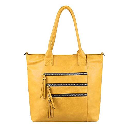 OBC Damen XL Shopper Tasche Schultertasche Hobo Bag Umhängetasche Beuteltasche Leder Optik DIN-A4 Groß Gelb