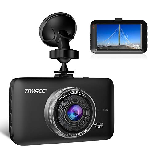 TryAce Dash Cam FHD 1080P Car DVR Dashboard Camera with 3' LCD Screen Parking Mode, WDR, G-Sensor, Loop Recording and Motion Detection Night Vision Car Recorder