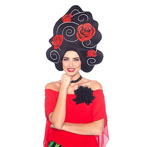 Folat 26735 Perücke mit schwarzen Haaren und rosa Schaumstoff, Damen