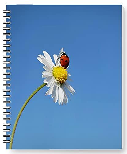 DianPrints Cuaderno de notas A5 con diseño de mariquita en flor impresa, suministros de oficina, 12,7 x 20,3 cm