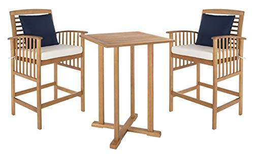 """Safavieh PAT7043A Outdoor Collection Pate Teak and White 3 Pc 39.8"""" Bar Table Bistro Set, Natural/Beige"""