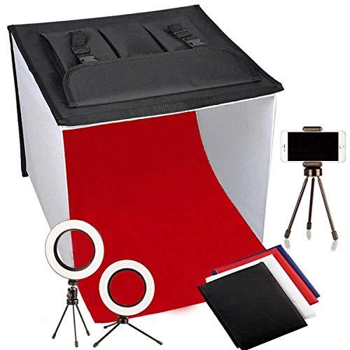 light Tent 40x40cm/16 x 16 inches Foldable Table Top Portable Photo Studio Tent Photography Lighting Light Box Shooting Tent (900lm X2, LED Ring Head X2, Tripod X3, Backdrop X4, 3000K-9000K)