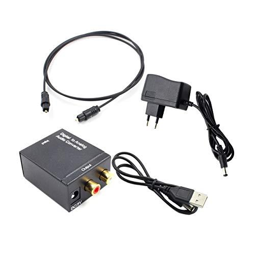 Ba30DEllylelly Adaptador convertidor de Audio óptico Toslink Coaxial R/L Coaxial óptico Digital...