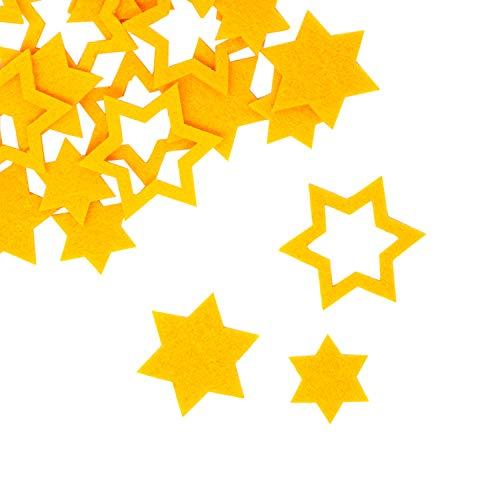Oblique Unique® 24 Filz Sterne Weihnachtsdeko Tischdeko Weihnachten Deko 3 Motive - Farbe wählbar (Gelb)