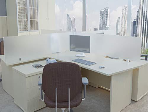 ECOfoxx Echtglas Tischtrennwand Akustik Bürotisch Sichtschutz Sichtblende ESG Milchglas Klarglas Schwarzglas (Milchglas, 100x60cm)