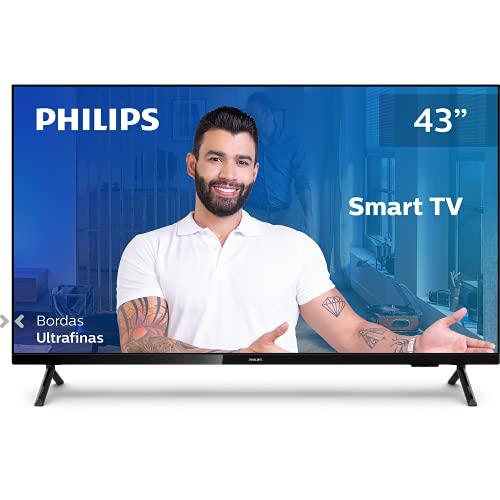 "Smart TV Philips 43PFG6825/78-43"" Full HD sem bordas, HDR Plus, 3 HDMI, 2 USB, Wifi Miracast, Conversor digital, Netflix, Youtube, Globoplay e Prime Video"