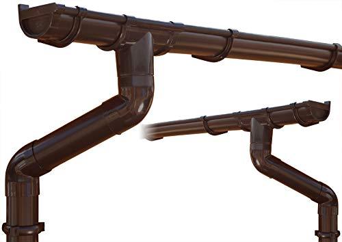 Dachrinnen/Regenrinnen Set | Satteldach (2 Dachseiten) | GD16 | in 4 Farben! (Komplettes Set bis 3.50 m, Braun)