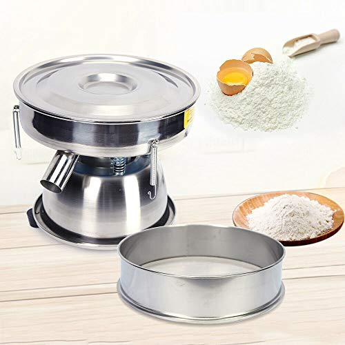 Flour Sifter,110V Electric Powder Vibration Sieve Machine Sifter 2 Layer 80 Mesh for Powder Particles - Food Processing Sifter for Powder Particle Bean (50 Mesh)