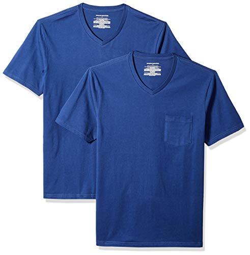 Amazon Essentials Men's 2-Pack Slim-Fit Short-Sleeve V-Neck Pocket T-Shirt, Blue, X-Large