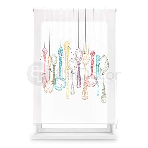 Blindecor Estor Enrollable translúcido Cocina, Cutlery, 110 x 180 (Ancho x Alto)