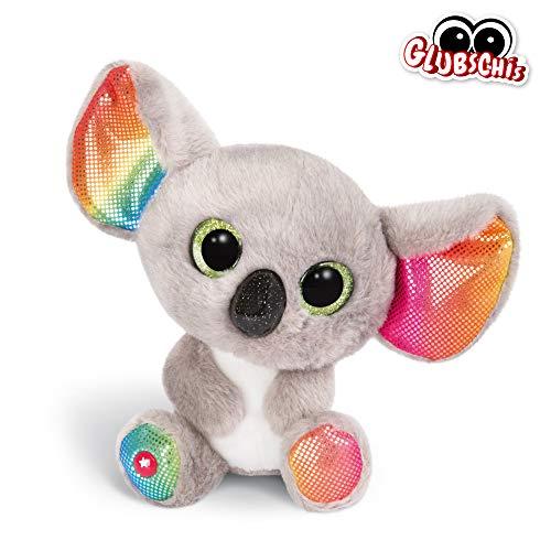 NICI 46319 Glubschis Kuscheltier Koala Miss Crayon 15cm, Flauschiges Plüschtier mit großen Glitzeraugen, süßes Stofftier für Kinder und Kuscheltierliebhaber, grau/bunt