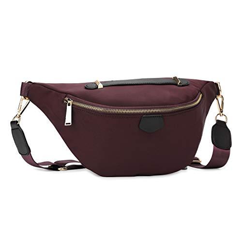 Wind Took Damen Brusttasche Crossbody Bag Mode-Hüfttaschen Große Umhängetasche Sling Tasche Schultertasche für Reisen Festival Konzert Freizeit, Rot