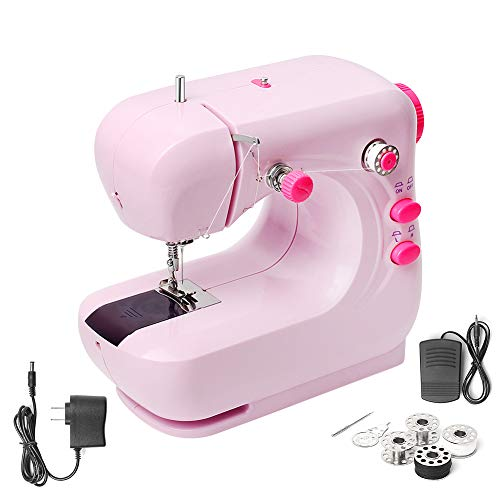Mini Sewing Machine, Portable Household and Lightweight Electric Sewing Machine for Beginner, Sewing Made Easy with Double Thread and Free Arm, Adjustable 2-Speed with Foot Pedal for Kids (Pink)