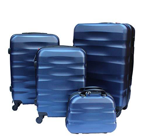 R.Leone Valigia da 1 pezzo Fino a Set 4 Trolley Rigido grande, medio, bagaglio a mano e beauty case 4 ruote in ABS 2050 (Blu, Set 3 S+M+L)