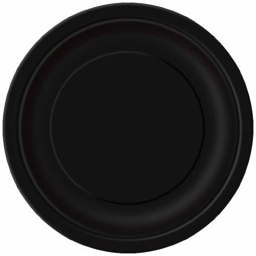 Unique Party - Platos de Papel - 17.1 cm - Negro - Paquete de 8 (3204)