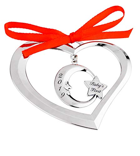 Holiday Jingles Baby's First Christmas Ornament 2019   Nickel-Plated Heart Moon Ornament for Newborn Boys and Girls   Charming Baby Keepsake with Red Ribbon