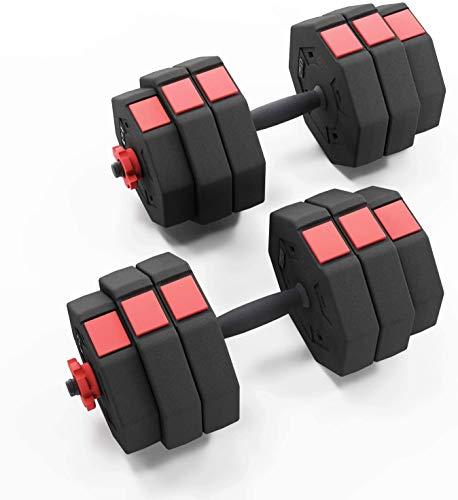 soges Hantelset 25kg,Langhantel und Kurzhantel,Hanteln set mit 12 Gewichte,Längeverstellbar,Multiverwendungsarten für Betreiben