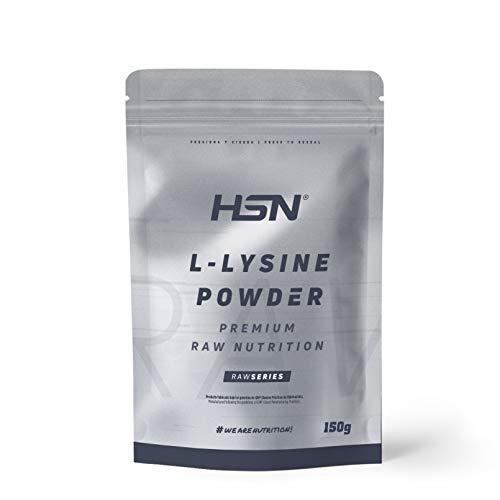 L-Lisina de HSN | L-Lysine Powder | 100% Pura en Polvo | Aminoácido Esencial | Suplemento para la producción de Colágeno, Piel Sana | Vegano, Sin Gluten, Sin Lactosa, Sabor Natural, En Polvo, 150 gr