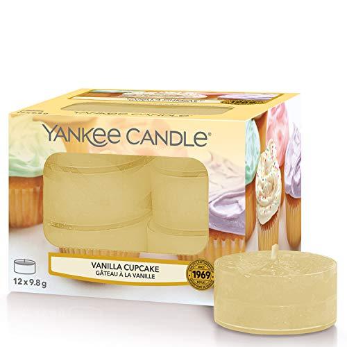 Yankee Candle Tea Light, Ceramica, Giallo (Cupcake alla Vaniglia), Candele per la Luce del Tè (x12)