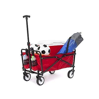 YSC Wagon Garden Folding Utility Shopping Cart,Beach Red (Navy Blue) (Regular, Red)