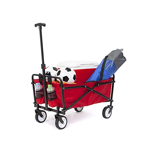 YSC Wagon Garden Folding Utility Shopping Cart,Beach Red (Navy Blue) (Regular, Red)