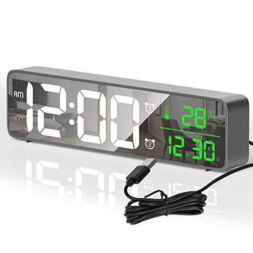 HOTERB Digitaler Wecker,LED Digitaluhr Spiegel Tischuhr Große Display Digital Wecker,Digitalwecker mit 40 Klingeltöne,Temperaturanzeige,Wecker Digital Alarm Clock für Zuhause,Schlafzimmer(grau)