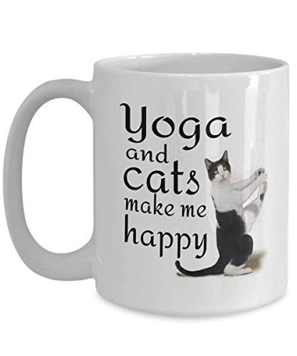 N\A Taza del Amante del Gato de la Yoga Taza de té del café con Leche Regalos Divertidos del Padre