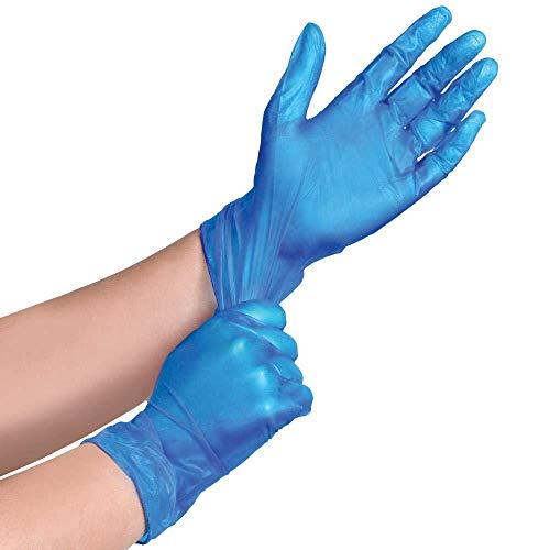 Confezione da 100 guanti monouso in vinile per uso alimentare e medicale, senza polvere e lattice, colore: blu, grande