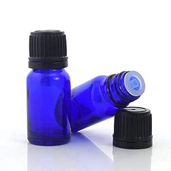 Constore 5ml Cobalt Blue Glass Bottle For Essential Oil Empty Refillable Vials with Euro Dropper Orifice Reducer Liquid Perfume Dispenser Lab Vials Black Coarse Grained Cap-15 Pack