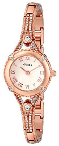 GUESS  Petite Vintage Inspired Rose Gold-Tone Crystal Bracelet Watch with Self-Adjustable Links. Color: Gold-Tone (Model: U0135L2)