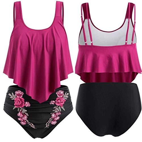 ZZNVS High Waist Ruffled Bikini Set Women Swimwear Bikini Push Up Padded Plus Size Overlay Print Bikinis 2020 Swimsuit Fashion Highlights The Figure (Color : Pink, Size : XX-Large)
