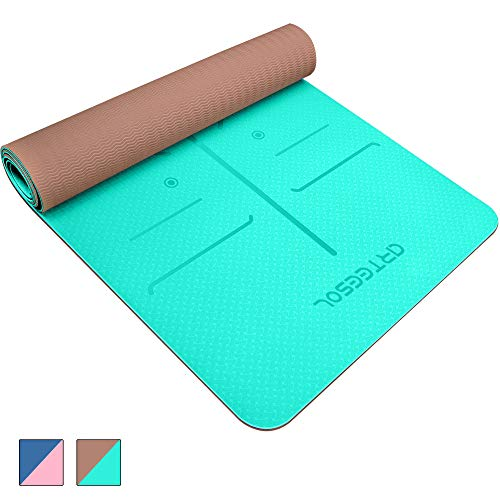 arteesol Yoga Mat NonSlip Exercise Mat PollutantFree TPE Fitness Mat with Carrying Strap for Yoga/Pilates/Exercises/Gymnastics183 x 61 x 06 cm8 Colors Oceanblue