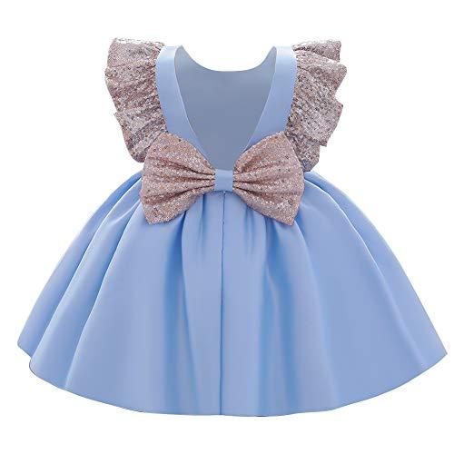 FYMNSI Baby Mädchen Kleid Kinder Prinzessin Partykleid Pailletten Schleife Formal Abendkleid Rückenfrei Hochzeitskleid Brautjungfer Festkleid Erster Geburtstagskleid Taufkleid 1# Blau 12-18 Monate