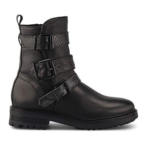 Cox Damen Trend-Boots aus Leder, Angesagter Halbstiefel in Schwarz mit Schnallen-Applikationen, Stiefelette mit griffiger Laufsohle Schwarz Strukturiertes Leder 40