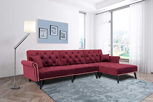 Burgundy Wine Red Sectional Sofa Sleeper Bed,JULYFOX 900 LB Heavy Duty 115 inch 3 Seater Sectional Sofa W/Chaise Velvet Sofa Futon Modern Day Bed W/Nail Head Trim for Living Room Small Spaces