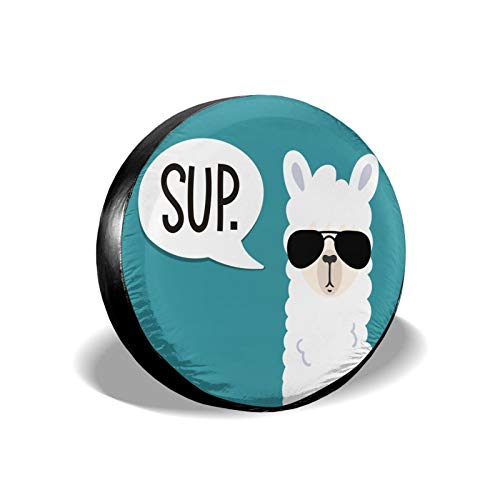 Funny Llama Spare Tire Cover Waterproof Dust-Proof UV Sun Wheel Tire Cover Fit for Jeep,Trailer, RV, SUV and Many Vehicle 17 Inch