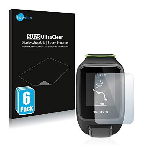 Savvies 6X Schutzfolie kompatibel mit Tomtom Runner 3 Bildschirmschutz-Folie Ultra-transparent