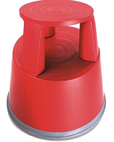 Preisvergleich Produktbild Rollhocker Elefantenfuß Tritthocker aus Kunststoff,  Farbe: rot,  TÜV- und GS-geprüft nach EN 14183