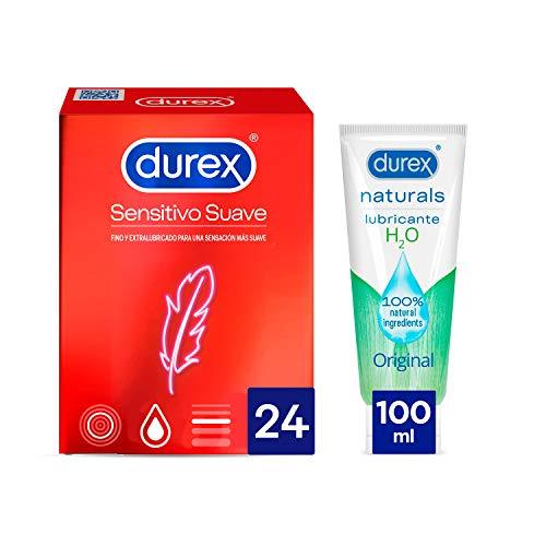 Durex Preservativos Sensitivo Suave + Lubricante Naturals H20 - 24 condones + Lubricante 100ml